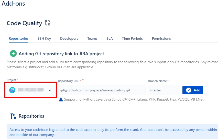 Essential] How to add repositories - code quality for jira